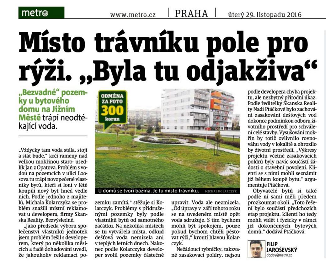 Stížnost občanů na výstavbu Skanska v článku Metro